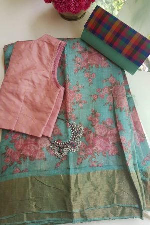 Pale teal rose print zari border tussar saree