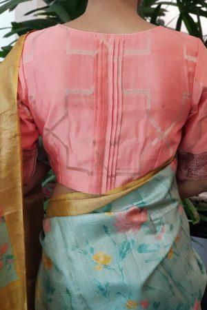 Peach chandheri blouse back
