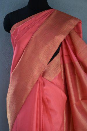 Peach long border kanchi silk saree 2