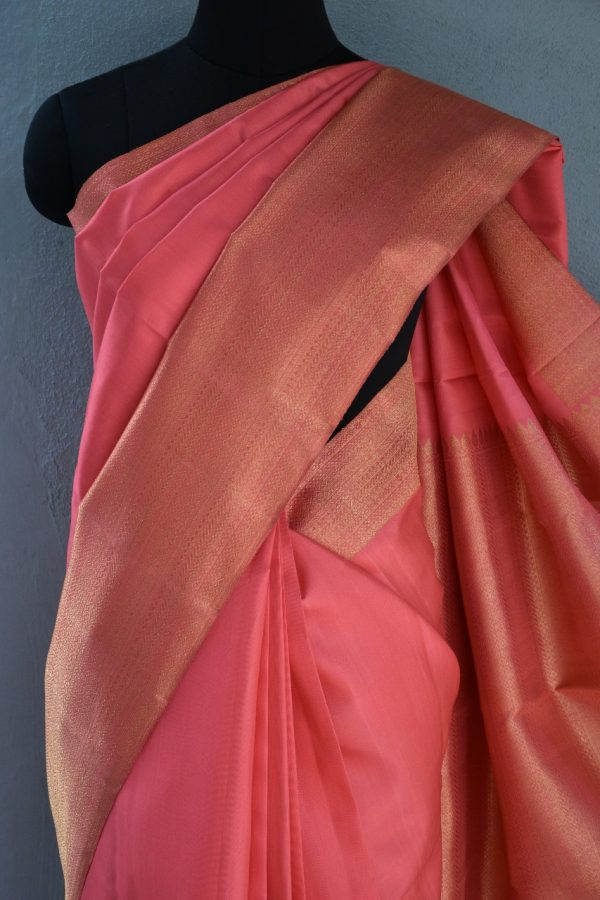 Peach long border kanchi silk saree 2