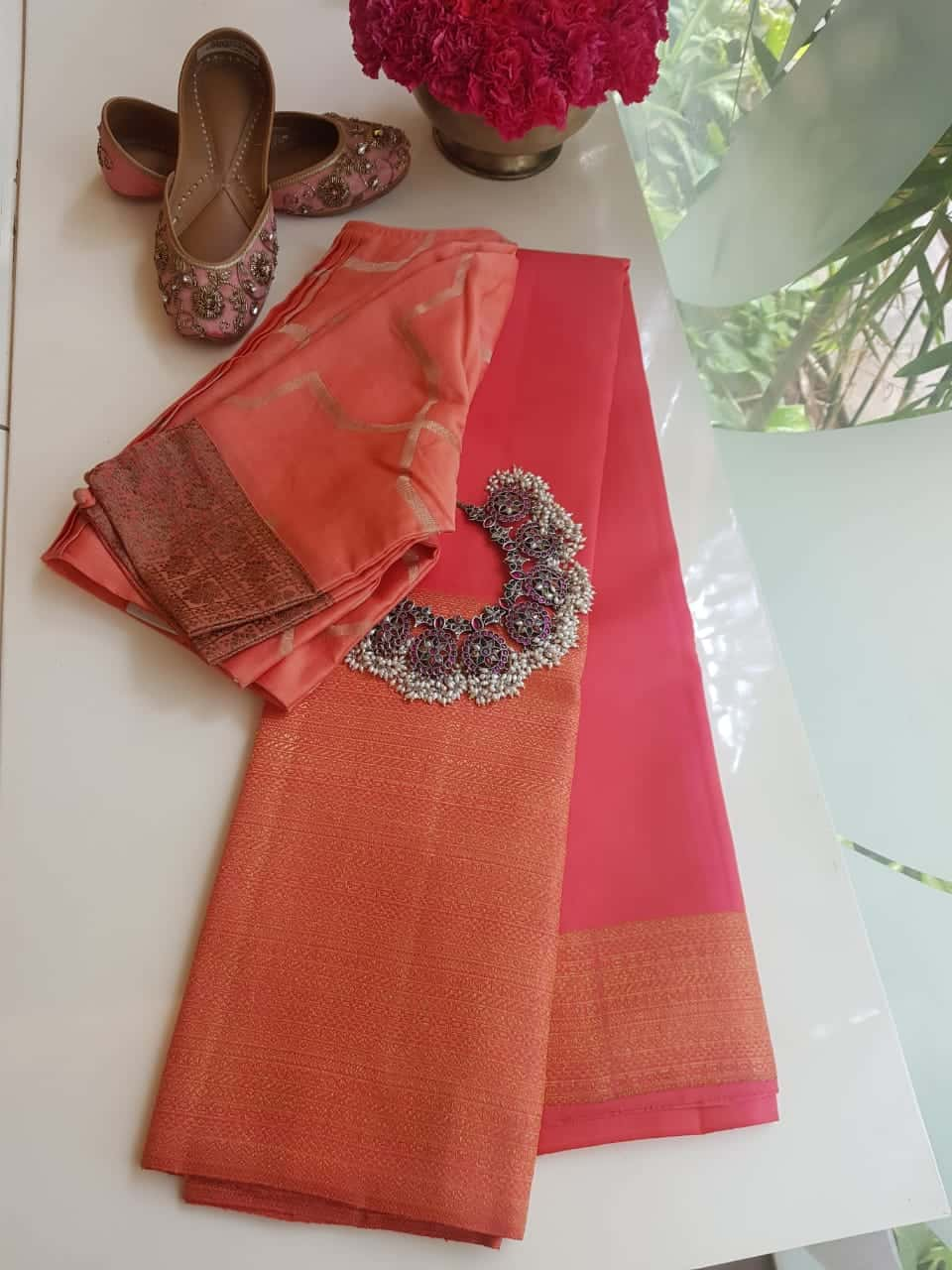 Peach long border kanchi silk saree