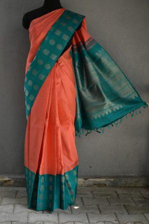 Peach turquoise long border kanchi silk saree 1