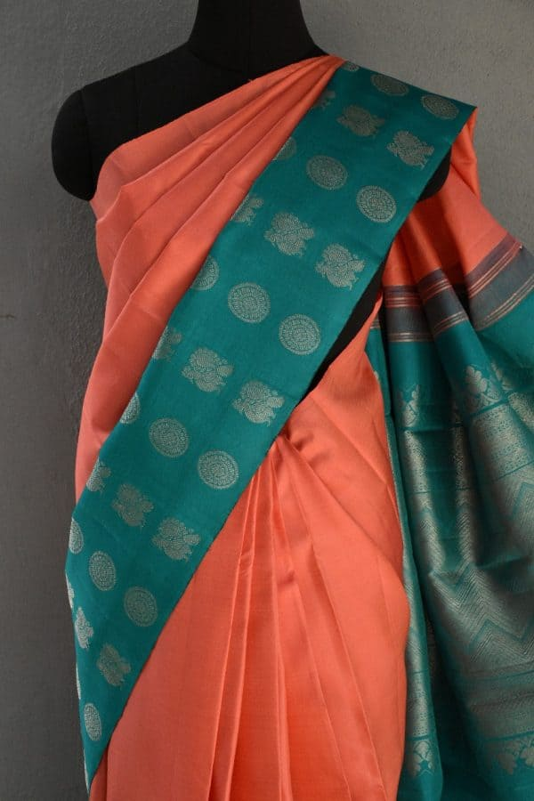 Peach turquoise long border kanchi silk saree 2