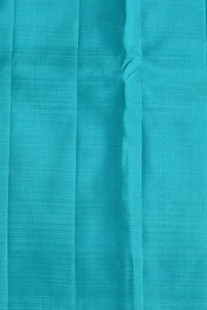 Peach turquoise long border kanchi silk saree 3