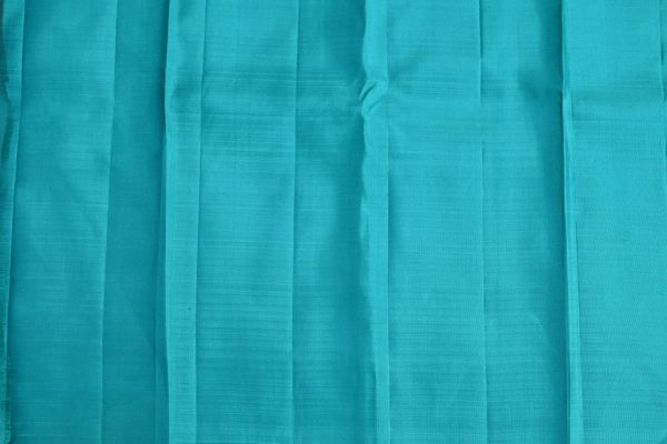 Peach turquoise long border kanchi silk saree 3