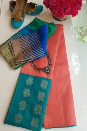Peach turquoise long border kanchi silk saree