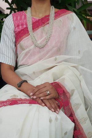Pink ikat cotton linen blouse