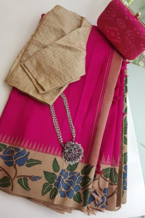 Pink kanchi silk saree with korvai kalamkari border