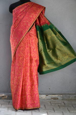 Pink vanasingaram brocade kanchi silk saree 1