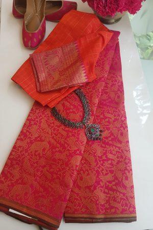 Pink vanasingaram brocade kanchi silk saree