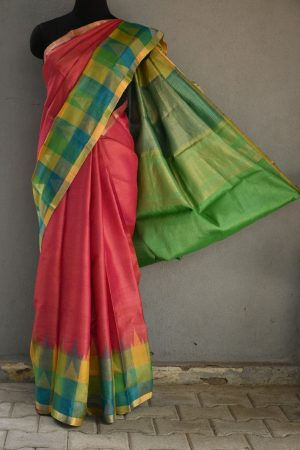 Pink with checks zari border tussar saree 1