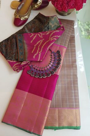 Powder brown pink long border korvai kanchi silk saree