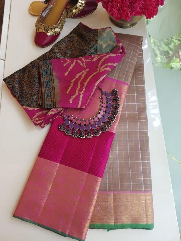 Powder brown pink long border korvai kanchi silk saree