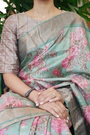 Powder brown silk brocade blouse