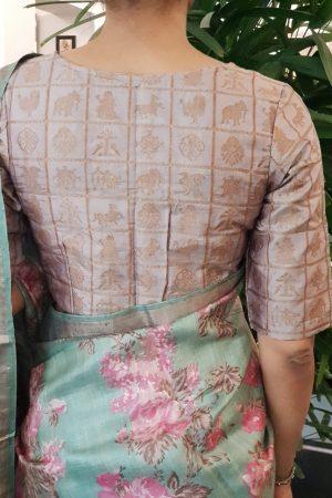 Powder brown silk brocade blouse back