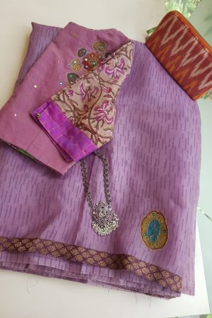 Purple organza saree with kalamkari applique
