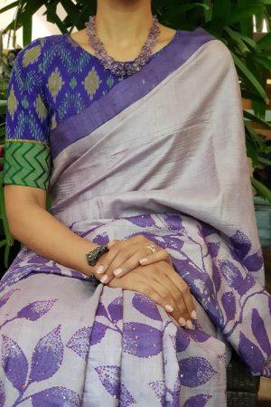 Purple silk ikat blouse
