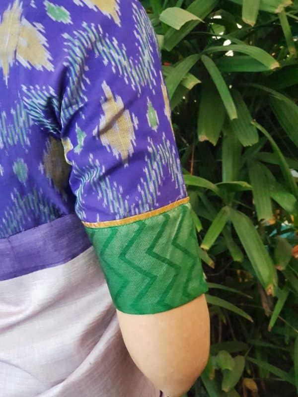Purple silk ikat blouse sleeve