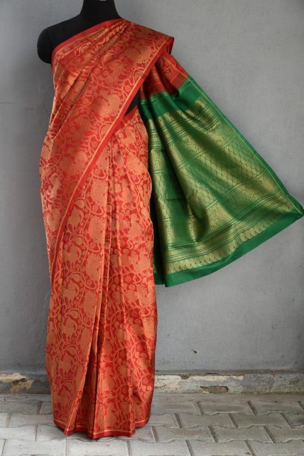Red annam brocade kancheepuram silk saree 1