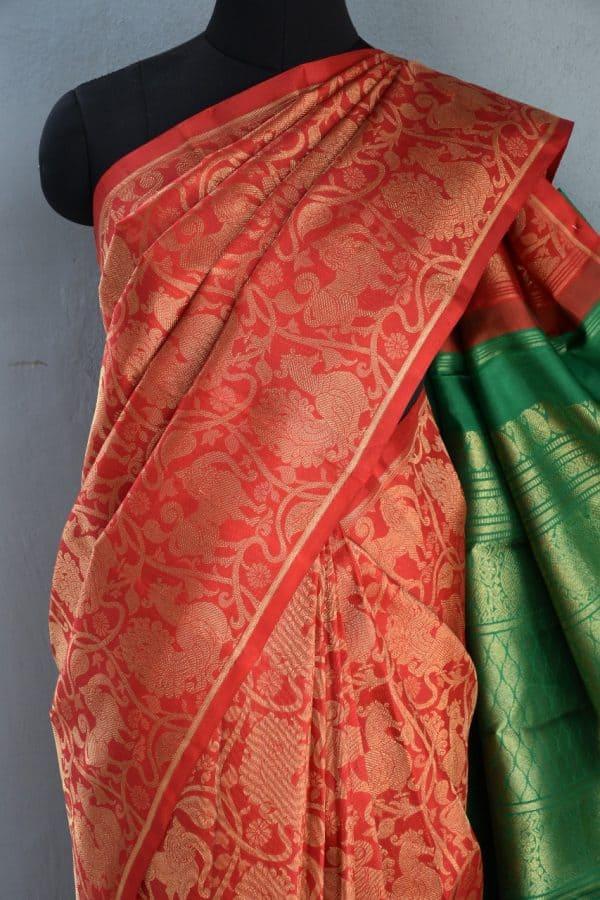 Red annam brocade kancheepuram silk saree 2