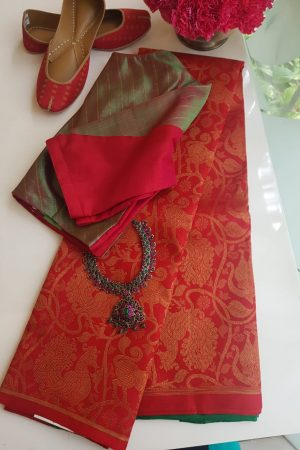 Red annam brocade kancheepuram silk saree