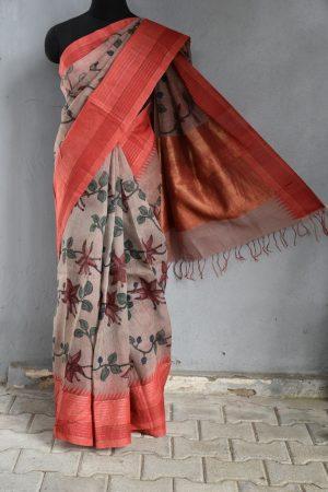 Red border linen kalamkari saree 1
