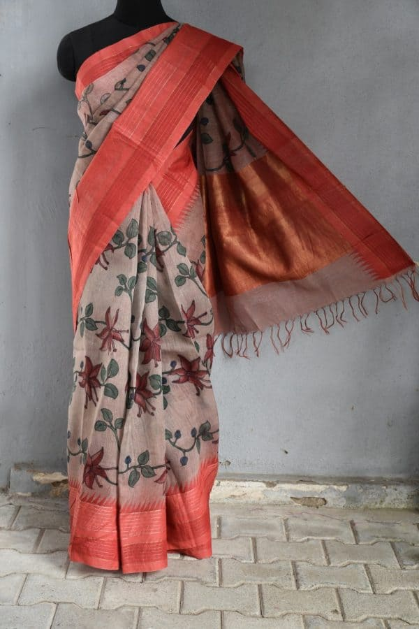 Red border linen kalamkari saree 1