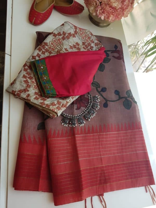 Red border linen kalamkari saree