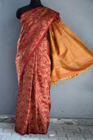 Red vanasingaram brocade kanchi silk saree 1