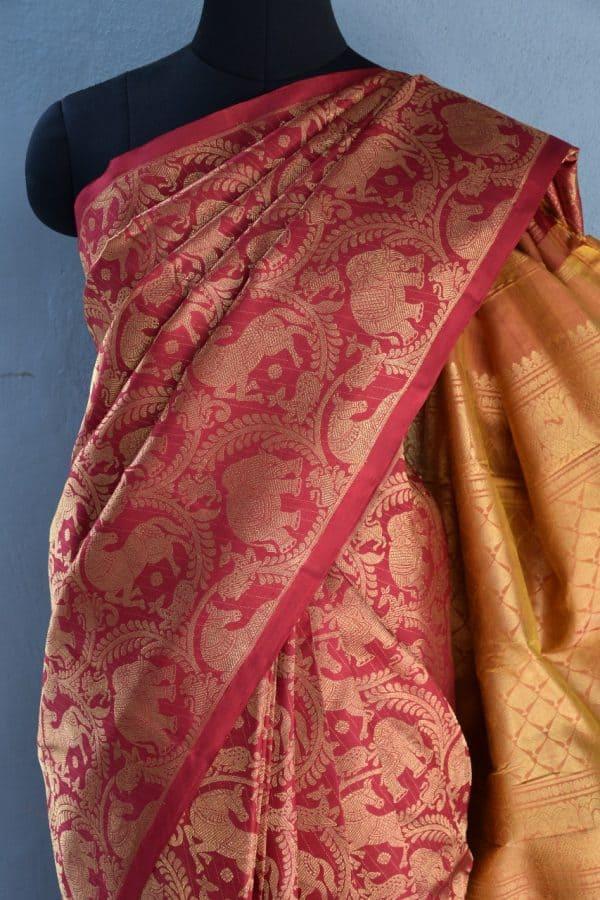 Red vanasingaram brocade kanchi silk saree 2
