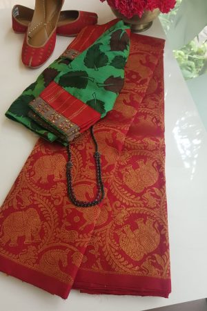 Red vanasingaram brocade kanchi silk saree