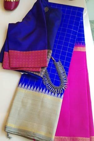 Royal blue korvai kanchi silk saree 1