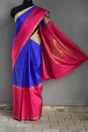 Royal blue korvai kanchi silk saree