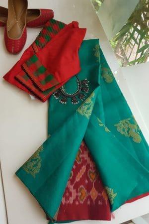 Saphire green ikat weave kanchi silk saree 2