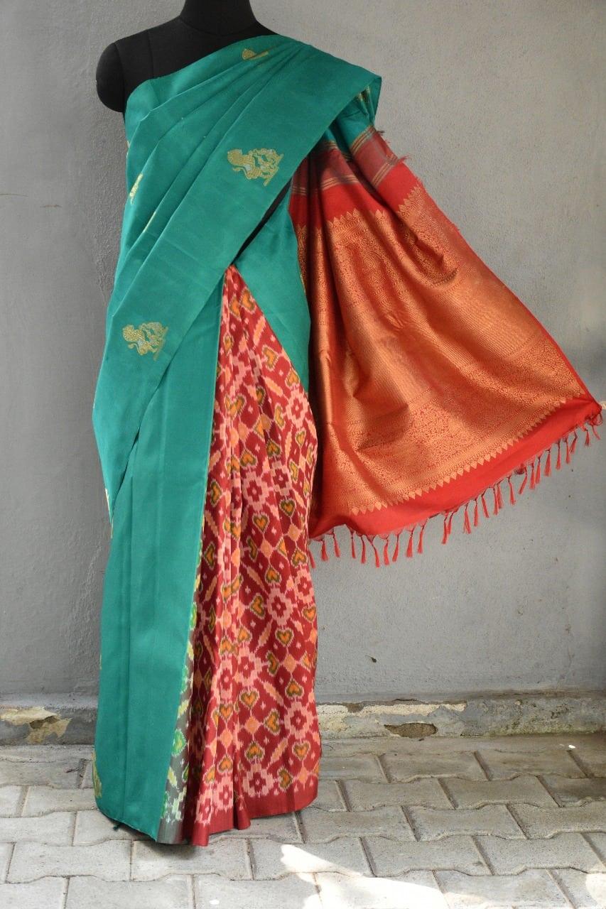 Saphire green ikat weave kanchi silk saree