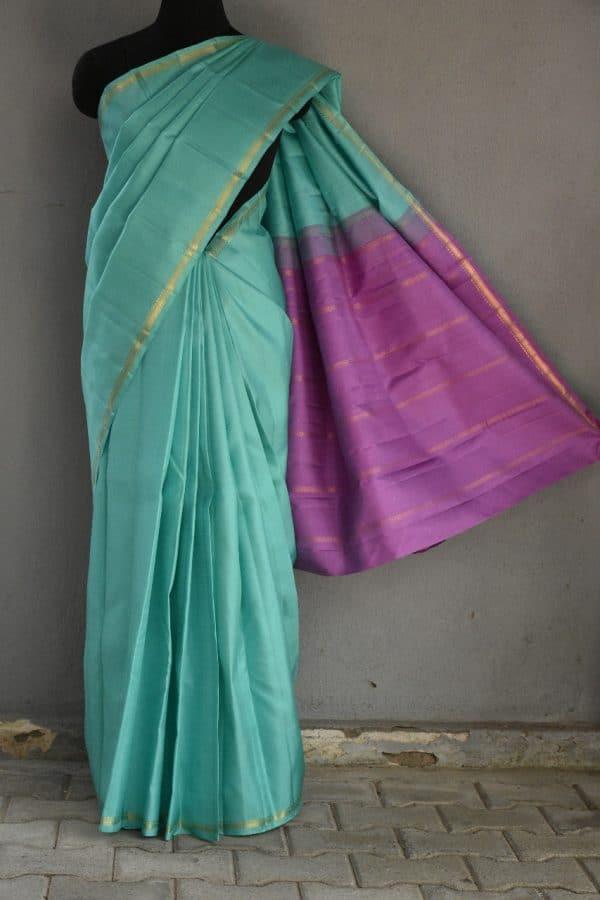 Teal with lilac pallu kanchi silk saree 1