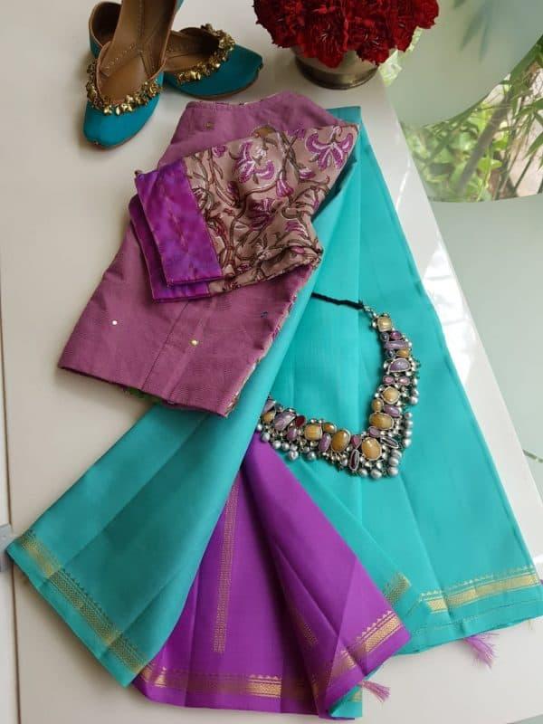 Teal with lilac pallu kanchi silk saree