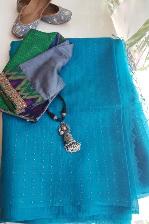 Turquoise blue sequins organza saree