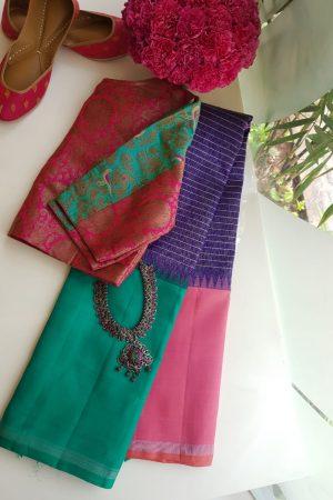 Violet ganga jamuna kanchi silk saree
