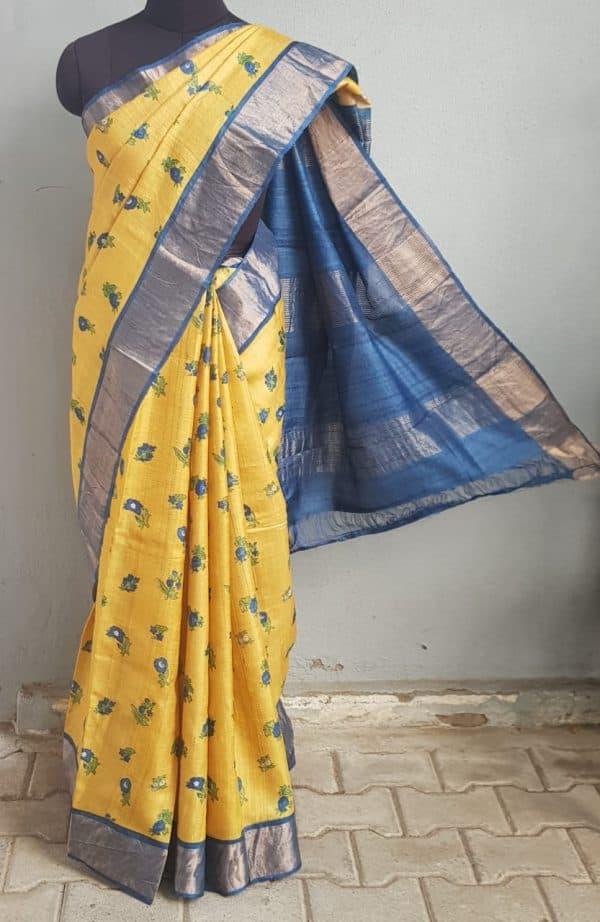 Yellow blue flower print zari border tussar saree 1