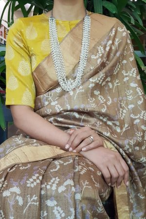 Yellow silk brocade blouse