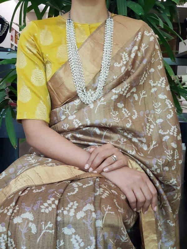 Yellow silk brocade blouse