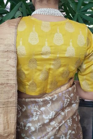 Yellow silk brocade blouse back