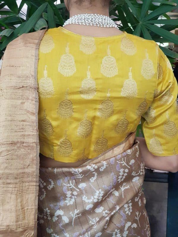 Yellow silk brocade blouse back