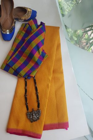 Yellow thread checks kanchi silk saree