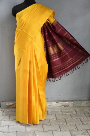 Yellow thread work kancheepuram silk saree 1