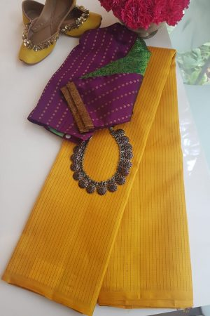 Yellow thread work kancheepuram silk saree
