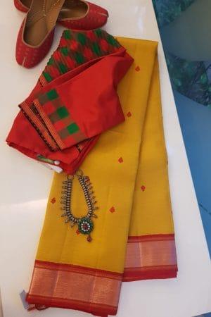 Yellow with copper zari border kanchi silk saree 2