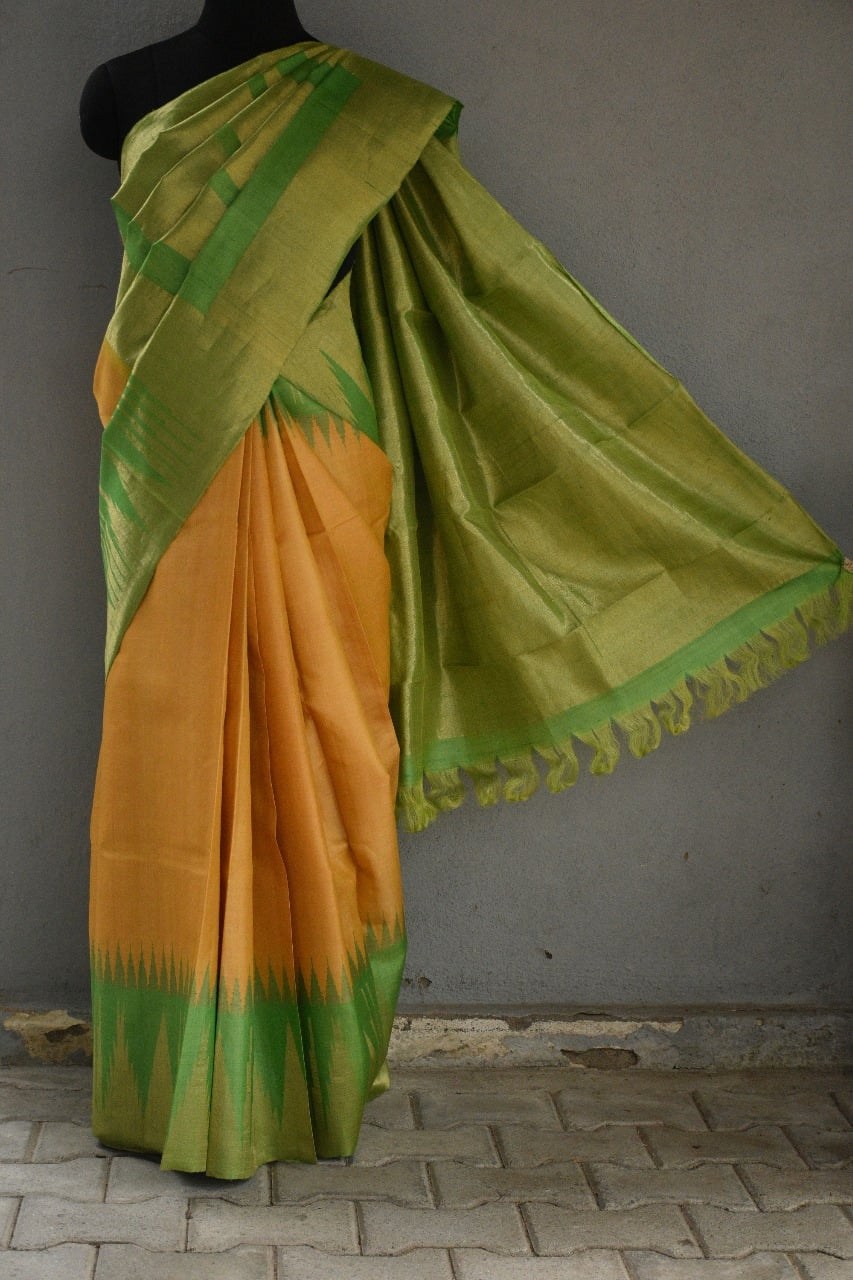 Yellow with green zari border tussar saree 1