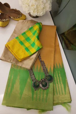 Yellow with green zari border tussar saree